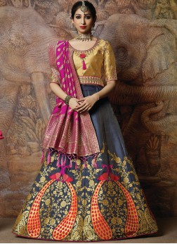 Silk Embroidered Designer Lehenga Choli in Navy Blue