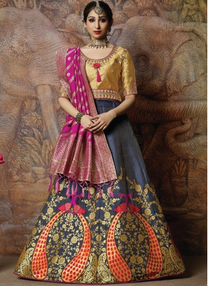 Banarasi Silk Embroidered Designer Lehenga Choli in Navy Blue