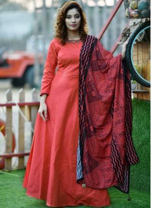 Silk Handwork Designer Gown in Orange