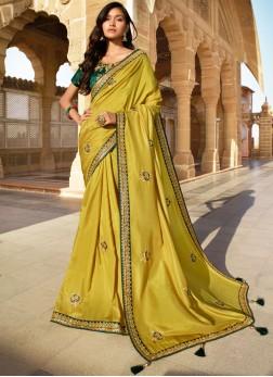 Silk Mustard Designer Saree