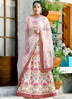Silk Peach Embroidered Designer Lehenga Choli