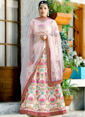 Silk Peach Embroidered Designer Lehenga Choli