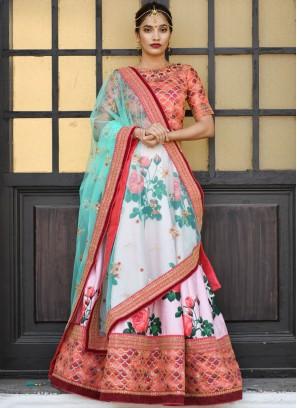 Silk Pink Trendy Lehenga Choli