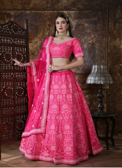 Silk Wedding Lehenga chikenkari work .