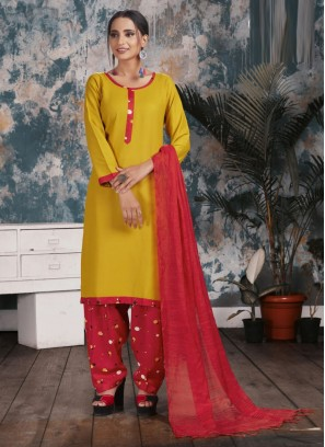 Simple Chinnon Digital Print Salwar Suit In Yellow-Red