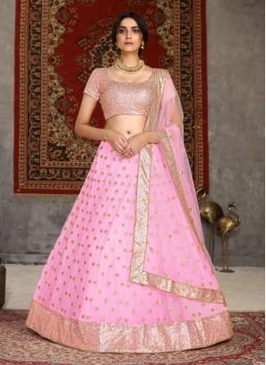 Simple Design Embroidery Work Engagement Lehenga Choli In Pink