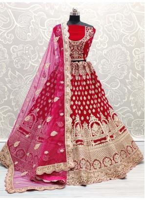 Simple Zari & Dori Embroidery Work Bridal Lehenga Choli in Pink