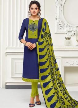 Simplistic Blue Thread Work Salwar Suit