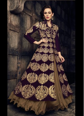 Sizzling Dark Purple Banglori Silk Lace Border Gown Style Suit