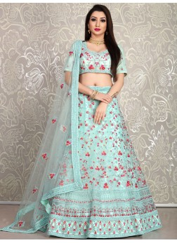 SkyBlue Dori Embroidered Net Wedding Lehenga with Blouse