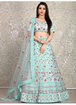 SkyBlue Dori Embroidered Net Wedding Lehenga with Blouse