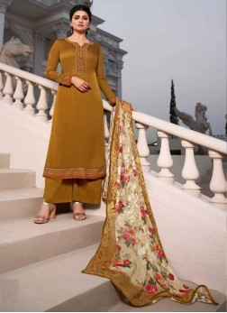 Smart Look Embroidered Georgette Pakistani Suit In Mustard