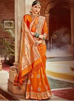 Snazzy Banarasi Silk Weaving Designer Saree in Orange