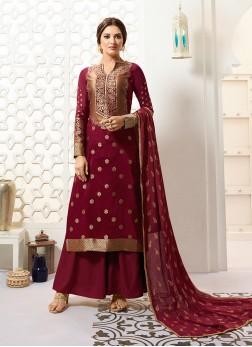 Snazzy Maroon Designer Palazzo Salwar Suit