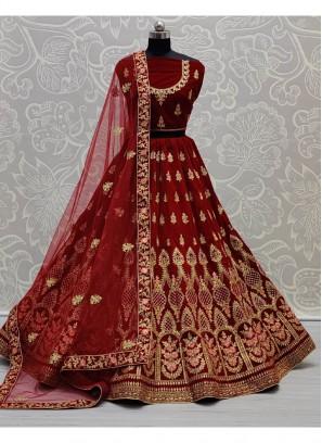 Sobar Dori Embroidered Bridal Lehenga Choli In Maroon