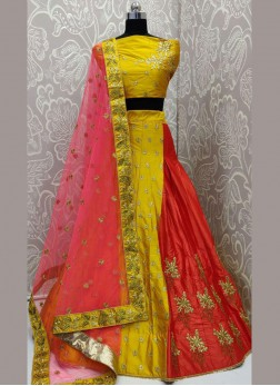 Mustard color detailing embroidery work designer lehenga choli
