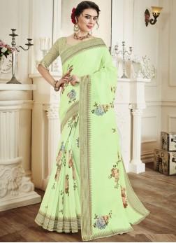 Sonorous Print Green Linen Printed Saree