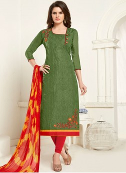Sophisticated Cotton Green Churidar Designer Suit