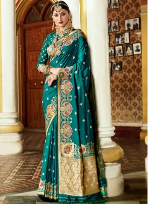 Sorcerous Teal Blue Designer Banarasi Saree with  blouse