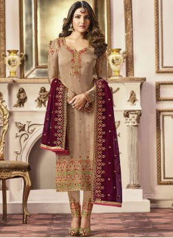 Sparkling Beige Embroidered Georgette Satin Pant Style Suit