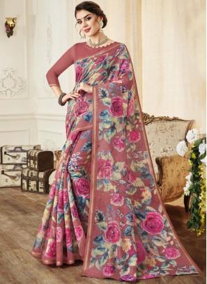Sparkling Print Casual Classic Saree