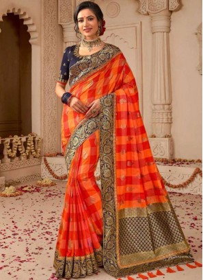 Specialised Weaving Orange and Red Designer Traditional Saree