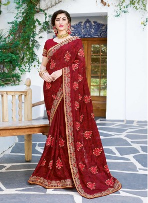 Spectacular Embroidered Maroon Faux Georgette Saree