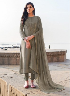 Spectacular Embroidery Georgette Pant Style Salwar Suit In Gray