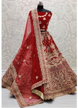 Spectacular Embroidery work Red Bridal Lehenga Choli