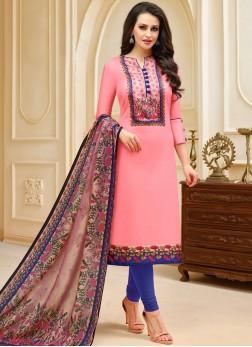 Spectacular Pink Churidar Suit