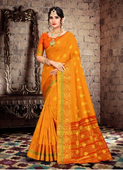 Spellbinding Orange Ceremonial Traditional Designer Saree