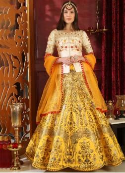 Splendid Art Silk Resham Yellow Lehenga Choli