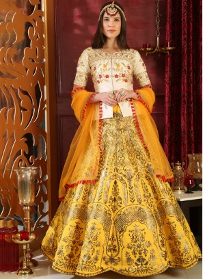 Splendid Art Silk Resham Yellow Lehenga Choli