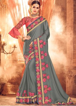 Splendid Embroidered Art Silk Grey Designer Saree