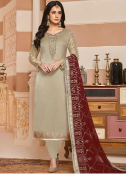 Splendid Georgette Satin Embroidered Silver Designer Salwar Suit