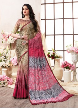 Splendid Multi Colour Abstract Print Art Silk Printed Saree