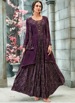 Splendid Print Purple Readymade Gown