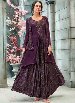 Splendid Print Purple Readymade Gown