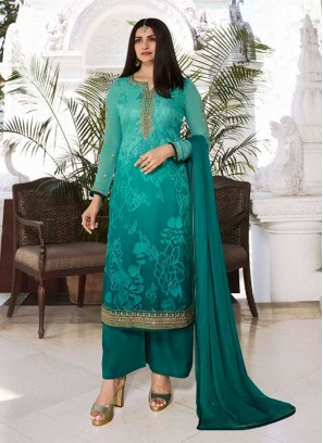 Staggering Brasso Shaded Palazzo Style On Salwar Suit In Teal