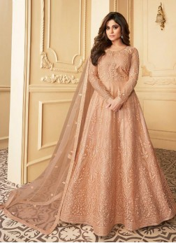 staggering Butterfly Net Peach Anarkali Suit With Dupatta