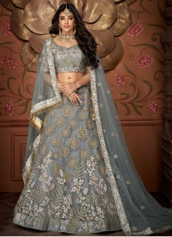 Staring Grey Embroidered Designer Lehenga Choli