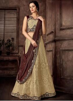 Staring Jacquard Silk Reception Lehenga Style Saree