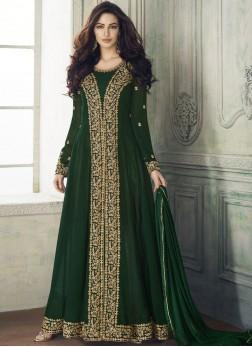 Resham Green Designer Pakistani Salwar Kameez