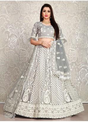 Stone Grey Designer Lehenga with Blouse Dupatta