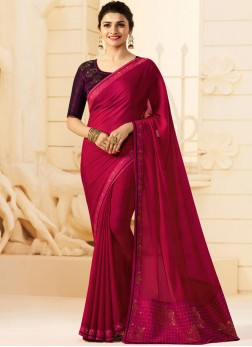 Stone Work Georgette Trendy Saree in Red