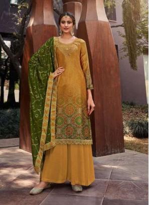 Straight Embroidery Designer Salwar Suit In Green - Mustard