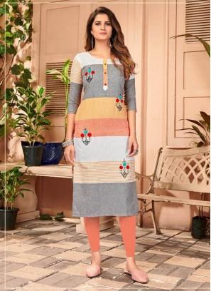 Straight Hand Embroidery Casual Kurti In Multi