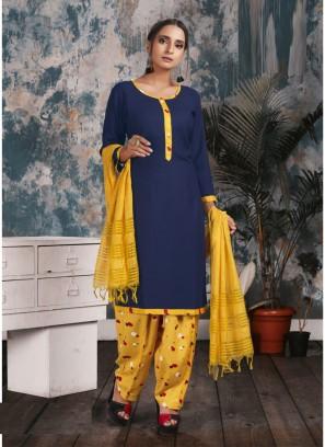 Straight Punjabi Maslin Salwar Kameez In Blue - Yellow
