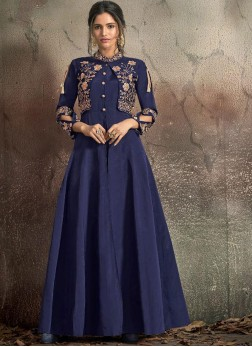 Strange Embroidered Tafeta Silk Readymade Trendy Gown