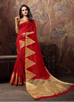 Striking Cotton Silk Red Woven Traditional Designer Saree